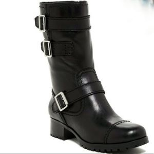 Marc Fisher Arianna Black Leather Moto Boots